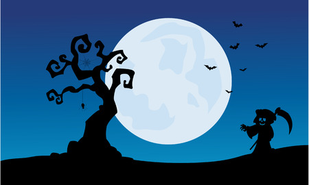 warlock: At night warlock scenery Halloween backgrounds and full moon