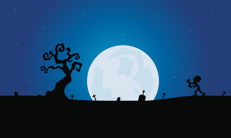 tomb: Scenery zombie and tomb silhouette with moon halloween