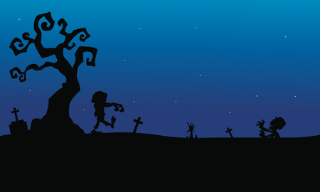 tomb: Halloween zombie in tomb silhouette with blue backgrounds Illustration