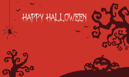 Halloween backgrounds pumpkins and dry tree vector illustration