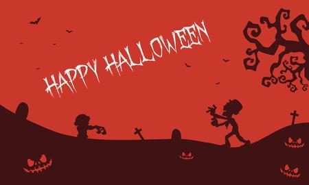 tomb: Happy Halloween zombie pumpkins tomb backgrounds illustration