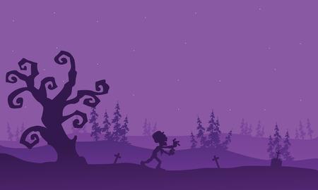 macabre: Zombie running halloween with purple backgrounds vector art Illustration