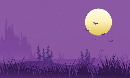 macabre: Full moon at Halloween bat vector illustration