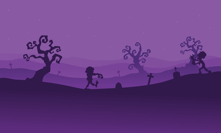 tomb: Silhouette of zombie walking in tomb with purple backgrounds Illustration
