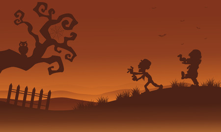 Silhouette of zombie and bat Halloween illustration