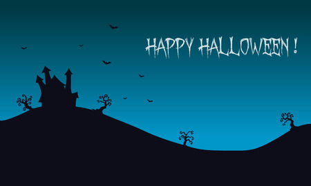 macabre: Happy Halloween backgrounds castle illustration and bat
