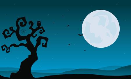 할로윈 마른 나무와 보름달 배경 그림