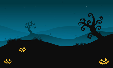 macabre: Silhouette of Halloween scary in hills with dry tree vector