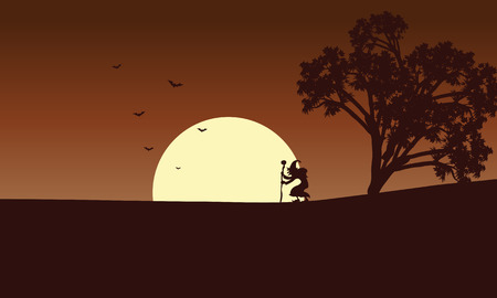 Witch and moon backgrounds Halloween vector illustration