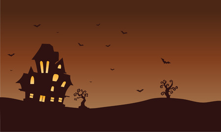 macabre: Silhouette of castle and bat Halloween illustration