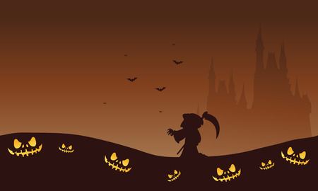 brown backgrounds: Halloween brown backgrounds warlock and castle silhouette illustration