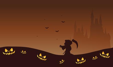 warlock: Halloween brown backgrounds warlock and castle silhouette illustration