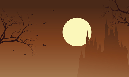 Halloween castle and bat silhouette with brown backgrounds