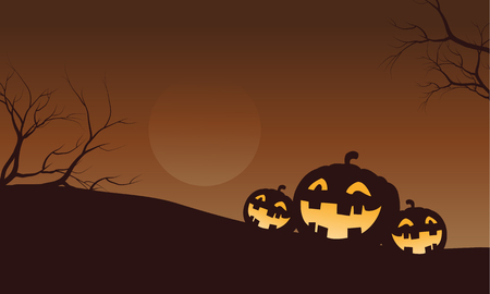 Silhouette of funny pumpkins in fields Halloween illustration