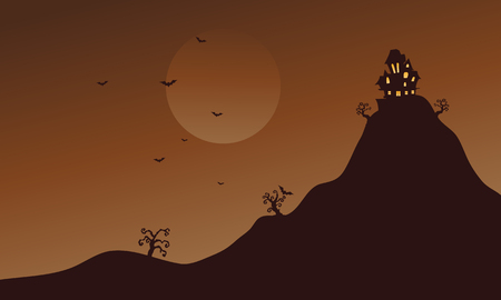 Hills and bat scenery at Halloween vector art