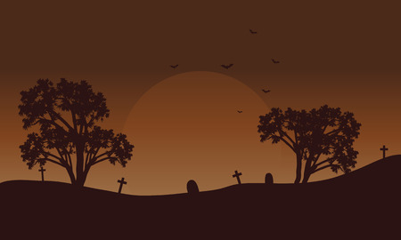 Brow backgrounds Halloween tomb and bat silhouette illustration