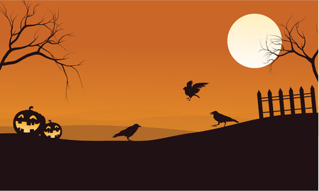Silhouette of pumpkins and crow Halloween illustration