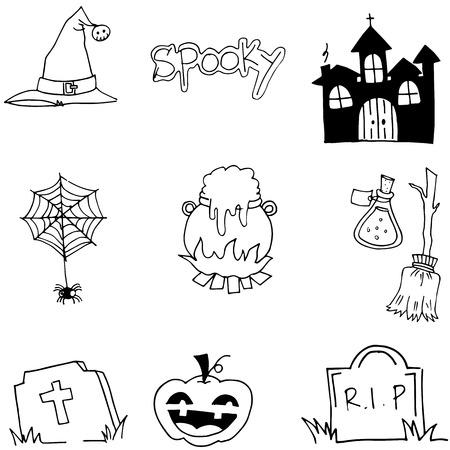 tomb: Tomb pumpkins broom element halloween doodle vector art