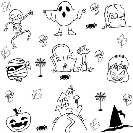 tomb: Halloween ghost pumpkins tomb costume doodle illustration