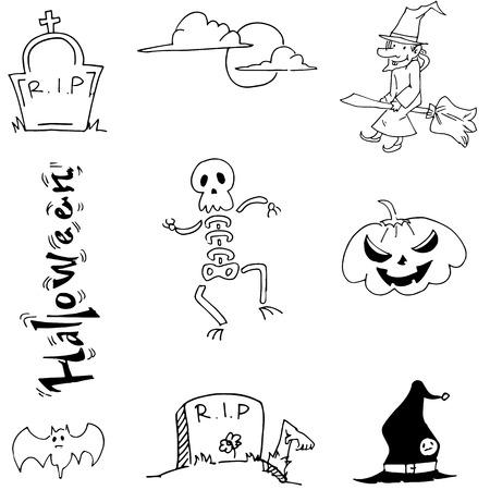 tomb: Doodle Halloween skull pumpkins tomb vector illustration Illustration