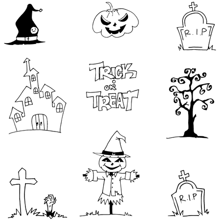 vetor: Halloween element doodle vetor art castle tomb scarecrow illustration