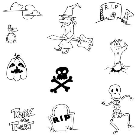 Pumpkins skul witch Halloween doodle vector illustration Illustration