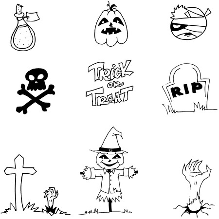 tomb: Halloween pumpkins scarecrow tomb in doodle on white backgrounds Illustration