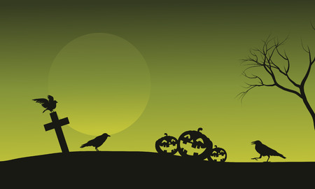 tomb: Silhouette of pumpkin and crow in tomb Halloween backgrounds