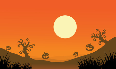 Pumpkin and full moon Halloween bakcgrounds illustration