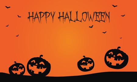 Happy Halloween pumpkins and bat backgrounds illustration 向量圖像