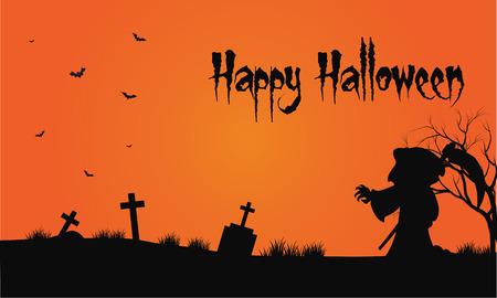 warlock: Bakcgrounds warlock and bat in tomb Halloween at afternoon