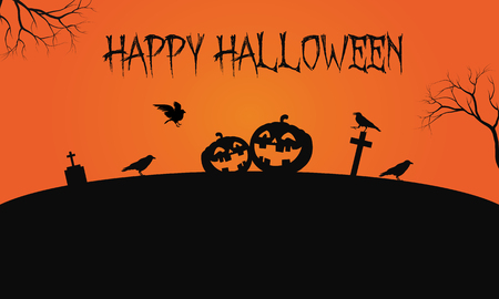 Pumpkins and crow Halloween backgrounds vector iillustration Illustration