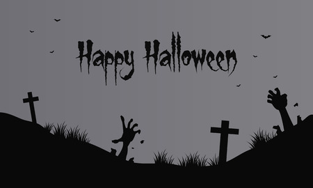 Hand zombie and graveyard Halloween gray backgrounds