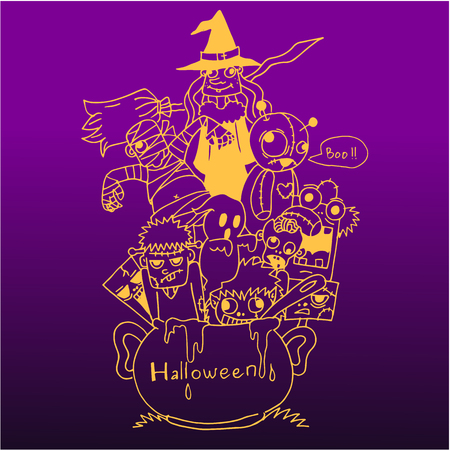 Purple backgrounds Halloween doodle art vector art