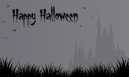 Halloween gray backgrounds big castle vector illustration