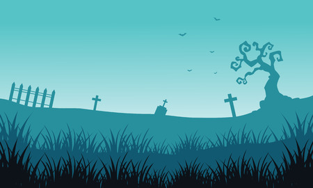 tomb: Silhouette of tomb and fog Halloween backgrounds illustration