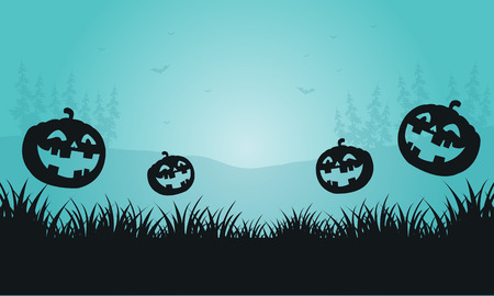 foggy: Silhouette of pumpkins and foggy Halloween vector illustration Illustration