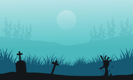 tomb: Hand zombie in tomb Halloween scenery vector illustration Illustration