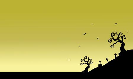 tomb: Tomb scenery of silhouette Halloween vector illustration Illustration