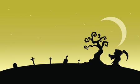 warlock: Silhouettte of warlock in tomb at afternoon illustration Illustration