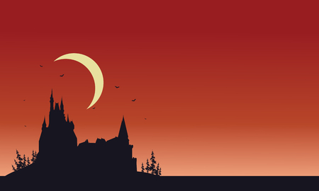 castle silhouette: Red backgrounds Halloween castle silhouette vector illustration