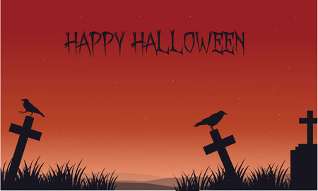 Silhouette of Halloween crow and tomb vector art Illustration