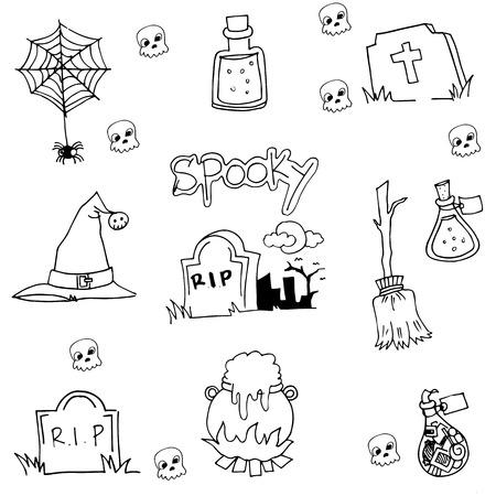 tomb: Halloween tomb element in doodle vector illustration