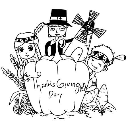compliments: Sketch doodle Thanksgiving icon set