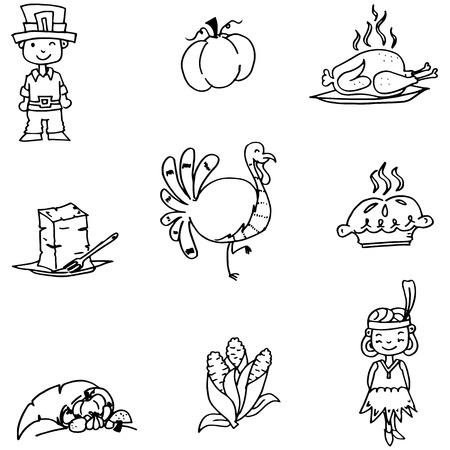 compliments: Element Thanksgiving in doodle vector art illustration Illustration