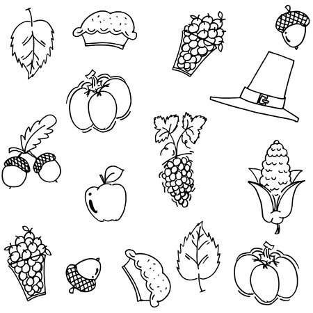 compliments: Thanksgiving fruit and vegetable doodle vector art
