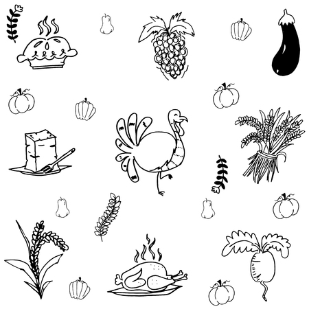 compliments: Doodle Thanksgiving turkey and vegetable vector art Illustration