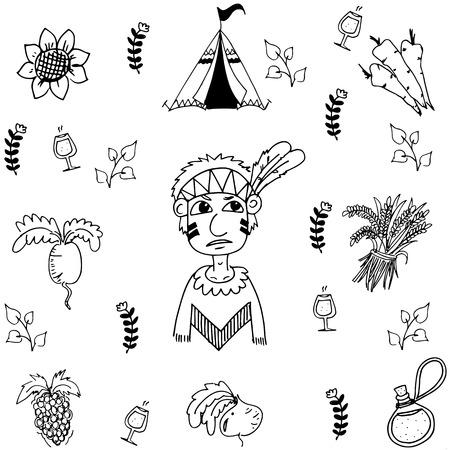 compliments: Doodle of Thanksgiving vegetable vector art illustration Illustration