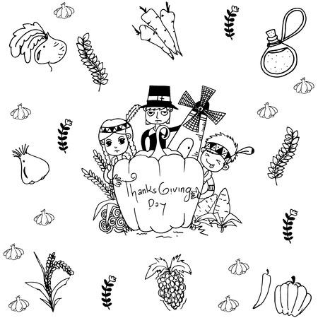 compliments: Thanksgiving doodle art element on white backgrounds Illustration