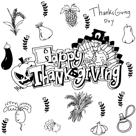 compliments: Hand draw thanksgiving vegetable in doodle illustration